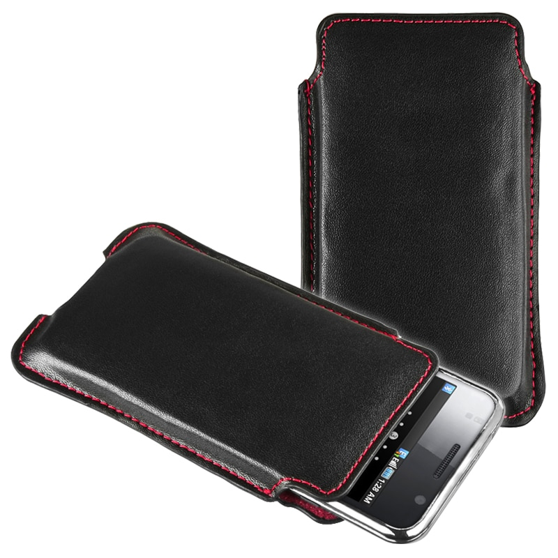 Black Leather Pull Pouch for Samsung Galaxy S i9000