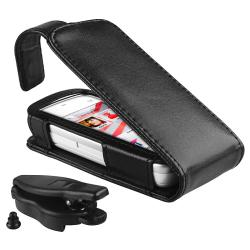 Black Leather Case with Belt Clip for Nokia N5230 - Thumbnail 1