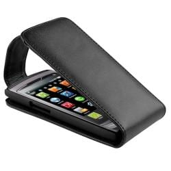 Black Leather Flip Case for Samsung Wave S8500