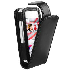 Black Leather Case with Belt Clip for Nokia N5230 - Thumbnail 2