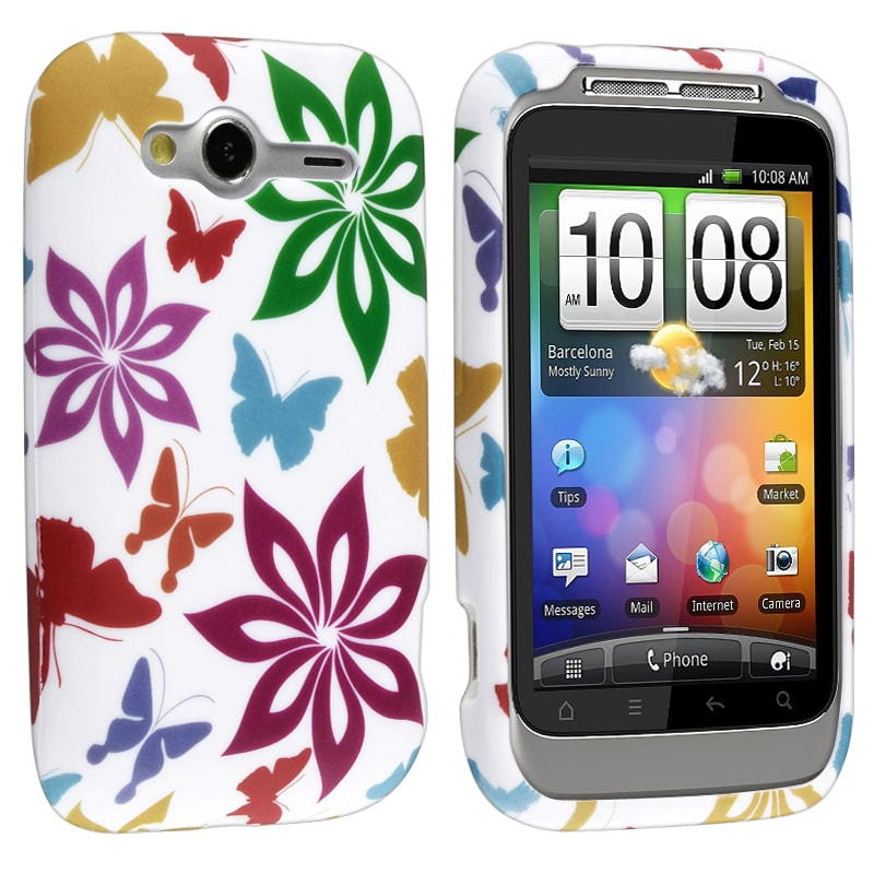 White/ Rainbow Flower/ Butterfly TPU Rubber Case for HTC Wildfire S