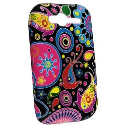 Black/ Colorful Fish and Circles TPU Rubber Case for HTC Wildfire S