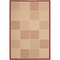 Safavieh Courtyard Beige/ Red Indoor/ Outdoor Rug (8' x 11'2)
