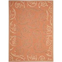 Safavieh Poolside Power-loomed Terracotta/ Cream Indoor/ Outdoor Rug (4' x 5'7) - 4' x 5'7