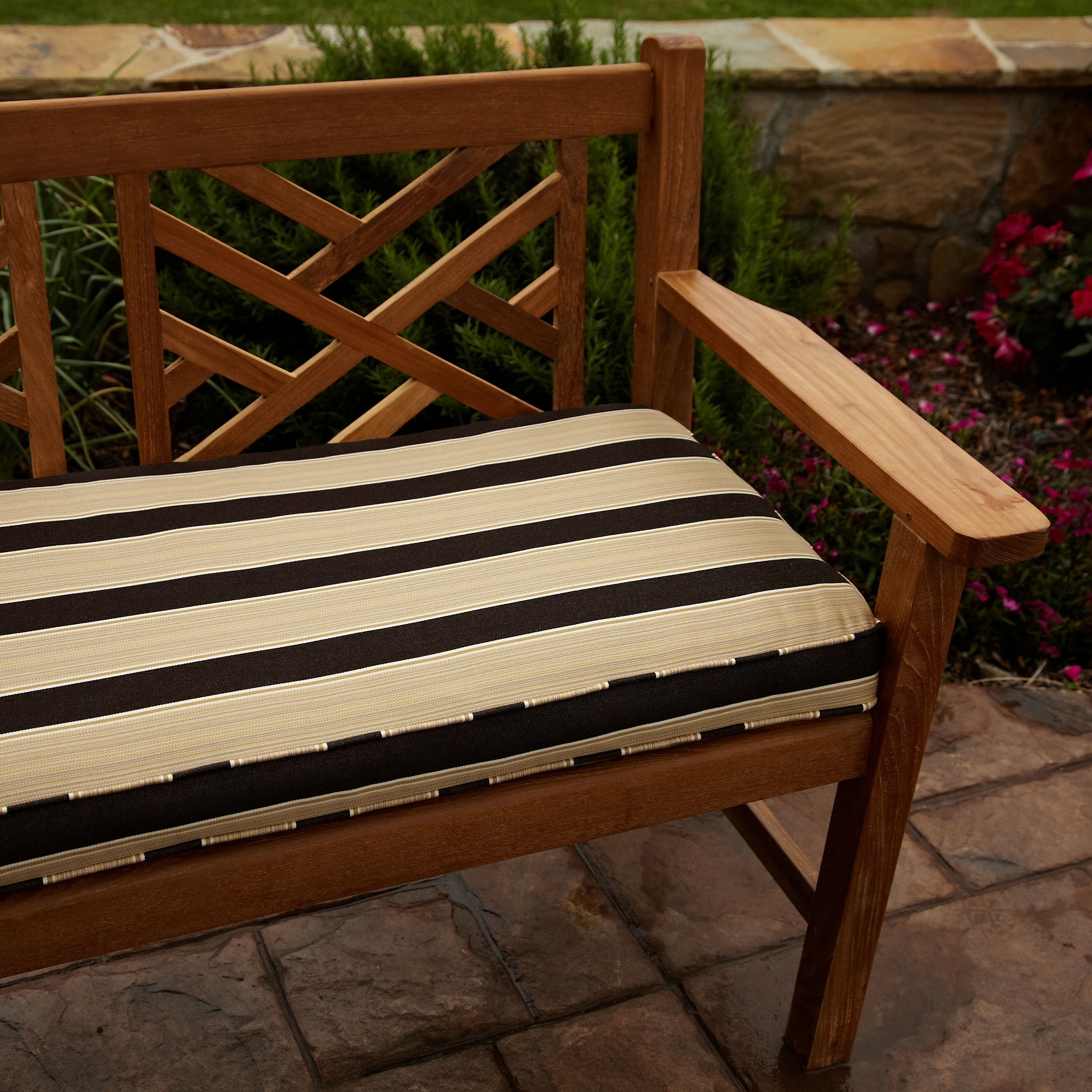 Clara Gold Brown Stripe Outdoor 48 Inch Sunbrella Bench