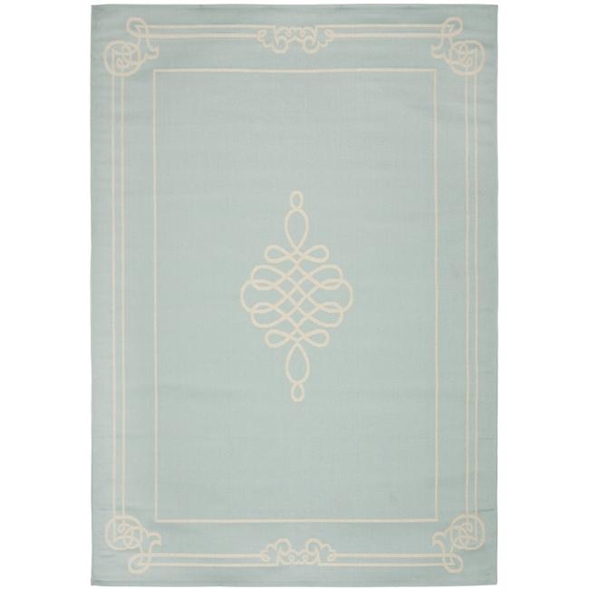 Safavieh Courtyard Classic Aqua/ Cream Indoor/ Outdoor Rug (8' x 11'2)