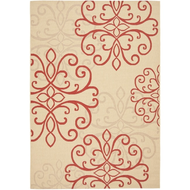 Safavieh Courtyard Scroll Medallion Cream/ Red Indoor/ Outdoor Rug (6'7 x 9'6)