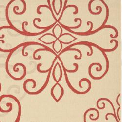 Safavieh Courtyard Scroll Medallion Cream/ Red Indoor/ Outdoor Rug (6'7 x 9'6) - Thumbnail 1