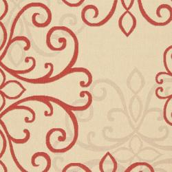 Safavieh Courtyard Scroll Medallion Cream/ Red Indoor/ Outdoor Rug (6'7 x 9'6) - Thumbnail 2