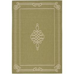 Safavieh Courtyard Classic Green/ Cream Indoor/ Outdoor Rug - 8' X 11' - Thumbnail 0