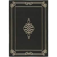 Safavieh Courtyard Classic Black/ Cream Indoor/ Outdoor Rug - 8' x 11'2