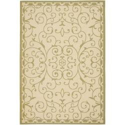 Safavieh Courtyard Scrollwork Cream/ Green Indoor/ Outdoor Rug (6'7 x 9'6)