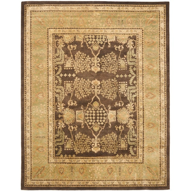 Safavieh Handmade Tree Brown/ Light Green Hand-spun Wool Rug (9'6 x 13'6)