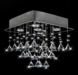 Chorus 5-light Chrome and Crystal Square Chandelier - Thumbnail 1