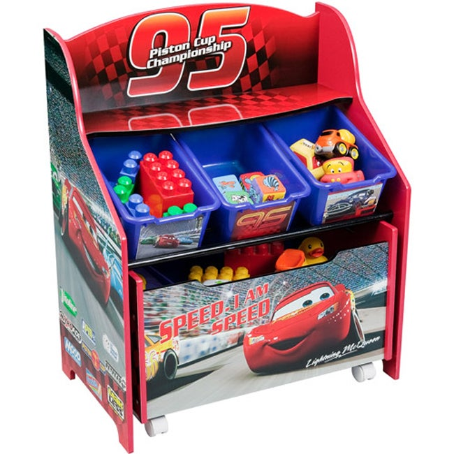Car Toy Organizer : Disney cars tier storage organizer with rollout toy box