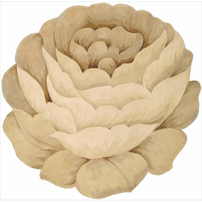 Nourison Hand-tufted Beige Bloom Rug (6' x 6') - Thumbnail 0