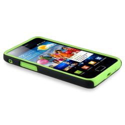 Green Skin/ Black Hard Hybrid Case for Samsung Galaxy S II i9100 - Thumbnail 1