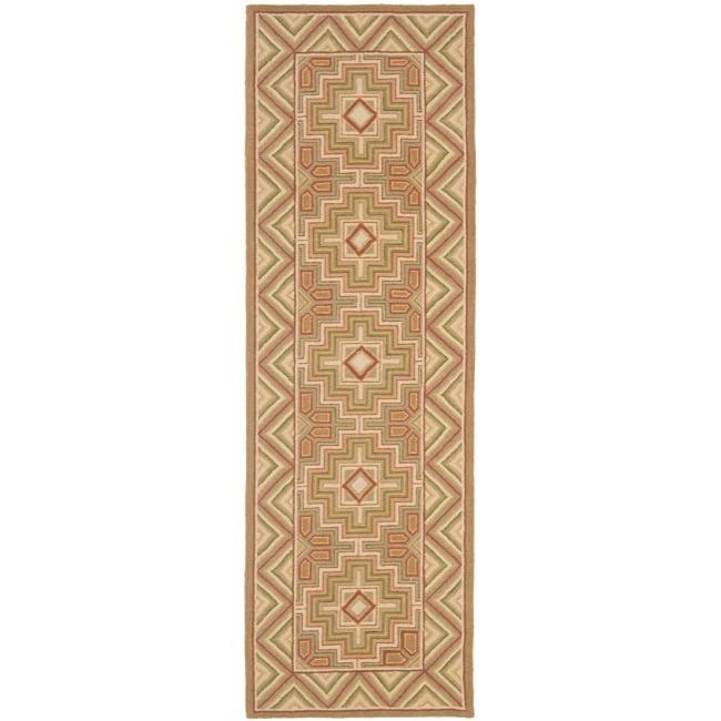 """Safavieh Hand-hooked Maze Beige Wool Rug - 2'6"""" x 12'"""