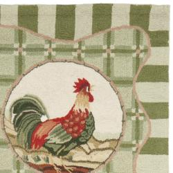 Safavieh Hand-hooked Rooster Green Wool Rug (2'6 x 6')