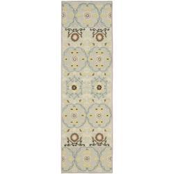 Safavieh Hand-hooked Chelsea Light Blue/ Ivory Wool Rug (2'6 x 8')