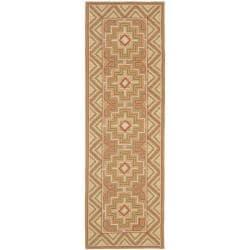 "Safavieh Hand-hooked Maze Beige Wool Rug - 2'6"" x 12' - Thumbnail 0"