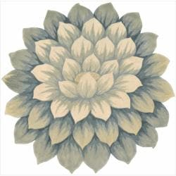 Nourison Hand-tufted Blue Bloom Rug (5' x 5') - Thumbnail 0