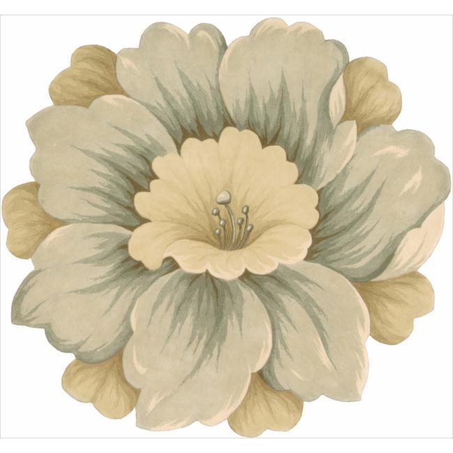 Nourison Hand-tufted Gold Bloom Rug (3' x 3')