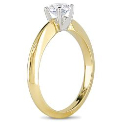 18k Two-Tone Gold 1/2ct TDW Diamond Solitaire Engagement Ring (H-I, SI1-SI2) - Thumbnail 1