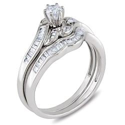 Miadora 14k White Gold 1/2 CT TDW Diamond Bridal Ring Set (G-H, I2-I3) - Thumbnail 1