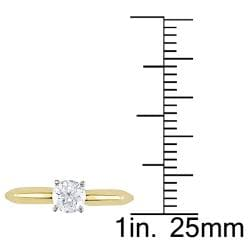 18k Two-Tone Gold 1/2ct TDW Diamond Solitaire Engagement Ring (H-I, SI1-SI2) - Thumbnail 2