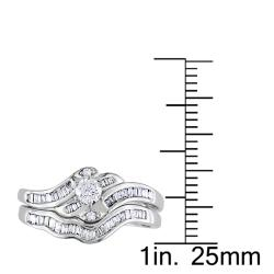 Miadora 14k White Gold 1/2 CT TDW Diamond Bridal Ring Set (G-H, I2-I3) - Thumbnail 2