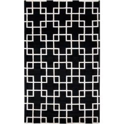 Hand-knotted Contemporary Black/White Indescent Semi-Worsted New Zealand Wool Geometric Area Rug (5' x 8') - Thumbnail 0