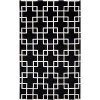 Hand-knotted Contemporary Black/White Indescent Semi-Worsted New Zealand Wool Geometric Area Rug (5' x 8')