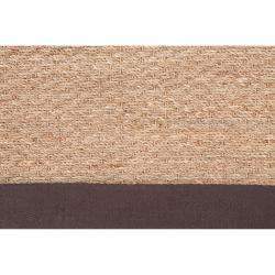 Hand-woven Beige Vigilant Natural Fiber Seagrass Cotton Border Rug (9' x 13')