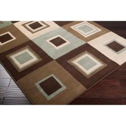 Meticulously Woven Contemporary Brown/Green Parrish Geometric Squares Rug (5'3 x 7'6) - Thumbnail 1