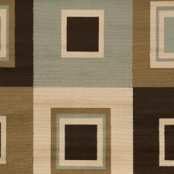 Meticulously Woven Contemporary Brown/Green Parrish Geometric Squares Rug (5'3 x 7'6) - Thumbnail 2