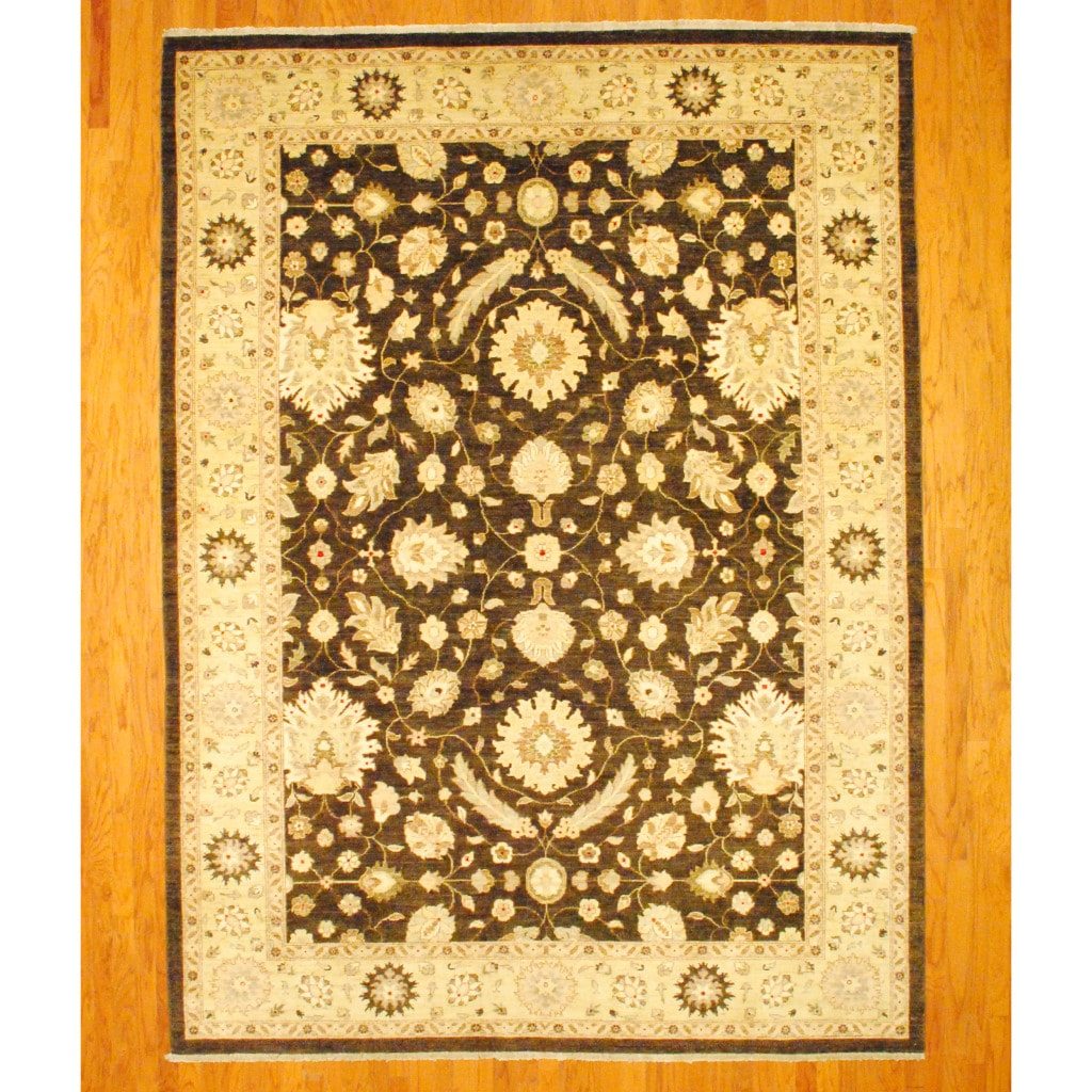 Afghan Hand-knotted Vegetable Dye Oushak Brown/ Ivory Wool Rug (9' x 12)