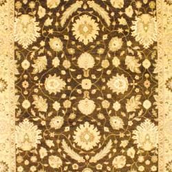 Afghan Hand-knotted Vegetable Dye Oushak Brown/ Ivory Wool Rug (9' x 12) - Thumbnail 1