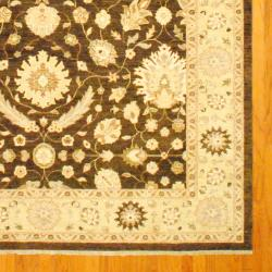Afghan Hand-knotted Vegetable Dye Oushak Brown/ Ivory Wool Rug (9' x 12) - Thumbnail 2