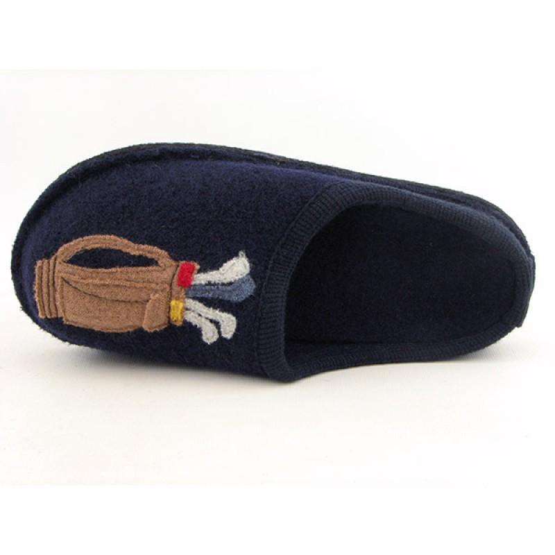 Haflinger Men's Golf Blue Slippers - Thumbnail 2