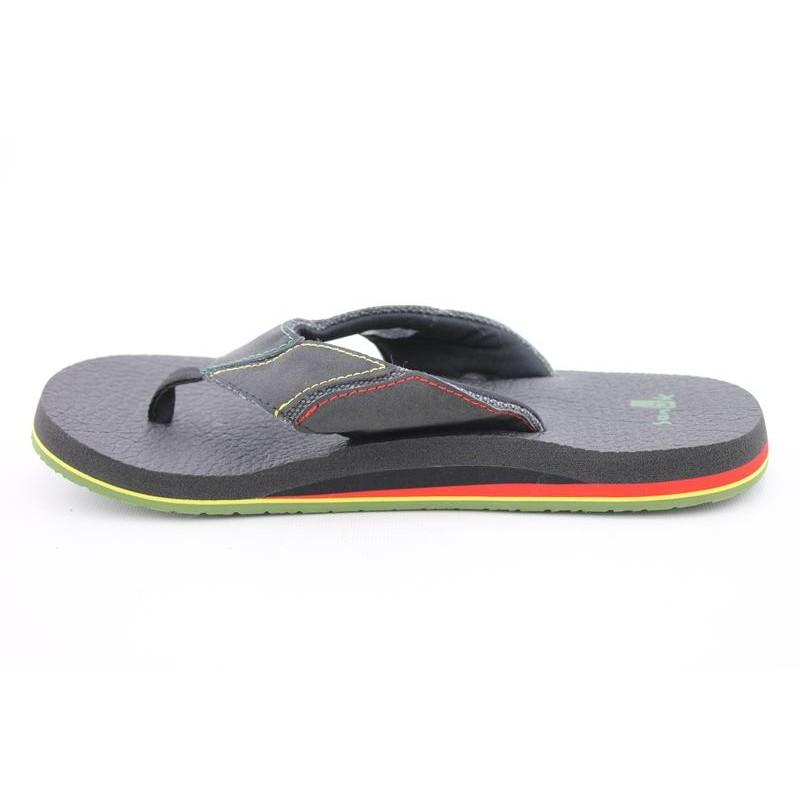 Sanuk Men's Fault Line Irie Black Sandals - Thumbnail 1