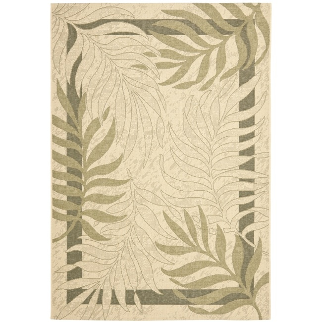 Safavieh Poolside Cream/ Green Indoor Outdoor Rug (9' x 12')