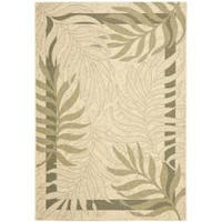 Safavieh Poolside Cream/ Green Indoor Outdoor Rug - 4' x 5'7