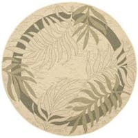 "Safavieh Poolside Cream/ Green Indoor Outdoor Rug - 5'3"" x 5'3"" round"