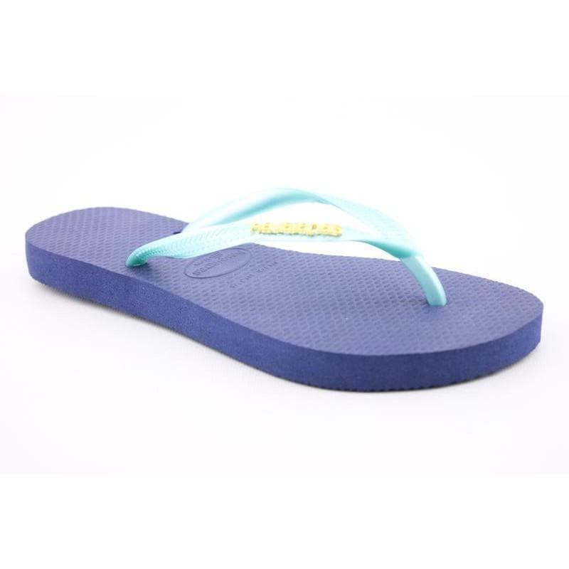 Havaianas Women's Slim Logo Metallic Blue Sandals