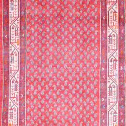 Persian Hand-knotted Hamadan Red/ Ivory Wool Rug (3'7 x 13'4) - Thumbnail 1