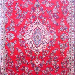 Persian Hand-knotted Sarouk Red/ Navy Wool Rug (8'6 x 11'10) - Thumbnail 1