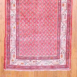 Persian Hand-knotted Hamadan Red/ Ivory Wool Rug (3'7 x 13'4) - Thumbnail 2