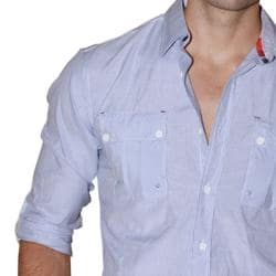 191 Unlimited Men's Blue Cotton-blend Shirt - Thumbnail 2