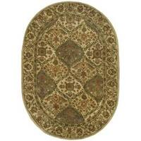 "Safavieh Handmade Tabriz Beige/ Olive Wool Rug - 7'6"" x 9'6"" oval"